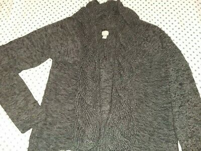 CONVERSE ONE STAR Women Long Sleeve Open Front Gray Cardigan Sweater Large L