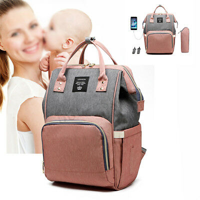 LEQUEEN Mummy Maternity Baby Nappy Diaper Bag Travel USB Backpack Large Capacity