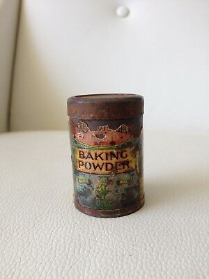 Small Vintage Fountain Brand Baking Powder Cylindrical Metal Tin