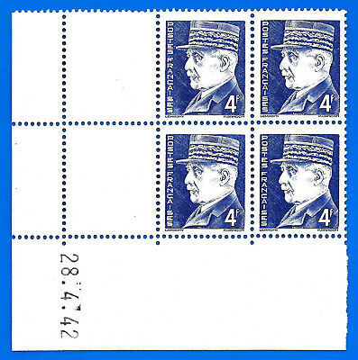 Lot France 4 Francs Petain 4 stamps in corner with date 1942 unused Free Ship
