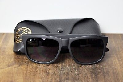 Authentic Sunglasses Ray Ban Justin RB4165 601/8g Black Frame Grey Lenses 54mm