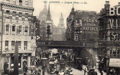 London im Jahre 1908 Ludgate Circus Peck`s Lever Watches Reklame  AK