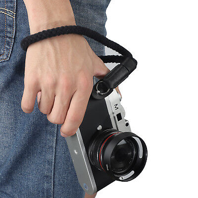 LeaTure Black Cotton Leather Camera Strap Hand Rope for Most Camera Canon Sony