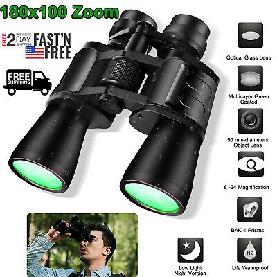 Zoom Day Night Vision Hunting Telescope Outdoor HD Binoculars 180x10 +Case Much