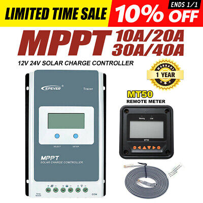 EPEVER 10A 20A 30A 40A MPPT Solar Charge Controller 12V/24V Auto PV 100V w/ MT50