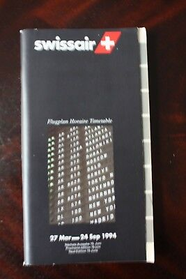 Swissair Timetable Flugplan 1994 With Seat Guide