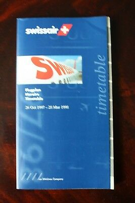 Swissair Timetable Flugplan 1997/1998 With Seat Guide