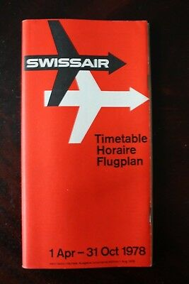 Swissair Timetable Flugplan 1978 With Route Map