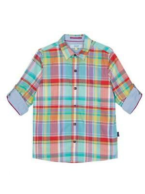 Baby Boys New Ted Baker Bright Check Long Sleeve Shirt Age 6-9m Soft Cotton
