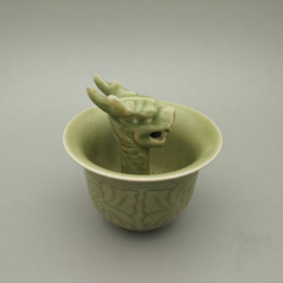 Chinese Dynasty Palace Old Celadon Glaze porcelain Carve Dragon Head Statue Cup