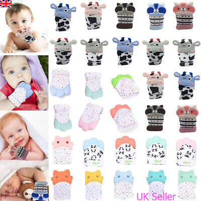 UK Baby Silicone Mitts Teething Mitten Teething Molar Glove Soft Teether Wrapper