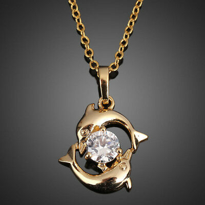 1Pc Cute Couple Dolphin 18k Gold Plated Crystal Necklace Pendant Chain Jewelry