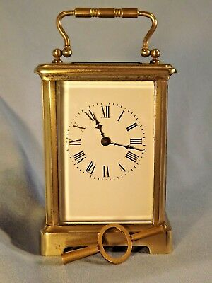 French Brass Carriage Clock Working Order C1890/1900.