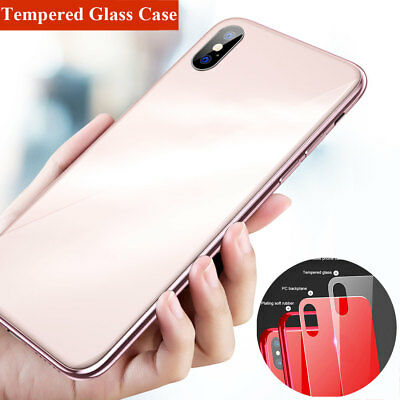 Luxury TPU Tempered Glass Case for iPhone XS Max/XR/X 6s 7 8 Plus Hybrid Cover