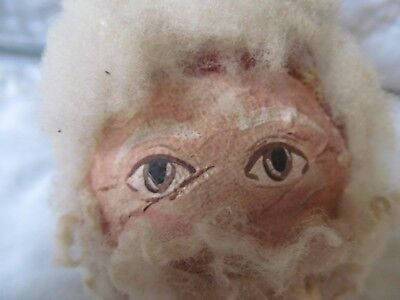"Vintage Paper Mache Belsnickle Fur German Primitive  Santa Head 8"" Hand Paint"