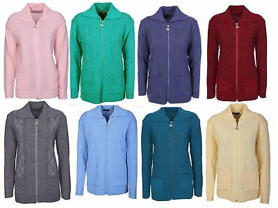 New Ladies Cardigan Womens Zip Up Knitted Long Sleeve Jumper Casual Sweater Top
