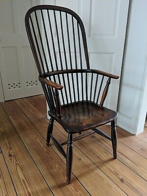 Original Antique Elm and Yew High Back Windsor Chair