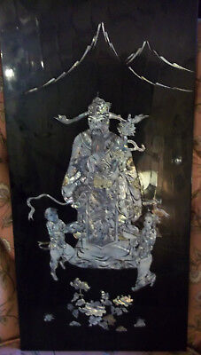 Black Enamel Panel with Inlaid Abolone - Man with Children, Mountains, Flowers