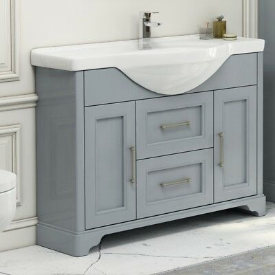 Modern Grey Oak Bathroom 1060mm Vanity Basin Premier Washstand Cabinet Unit