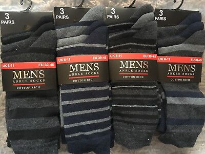NEW JOB LOT WHOLESALE MENS COTTON RICH ANKLE SOCKS Size 6-11 - 12 PAIRS