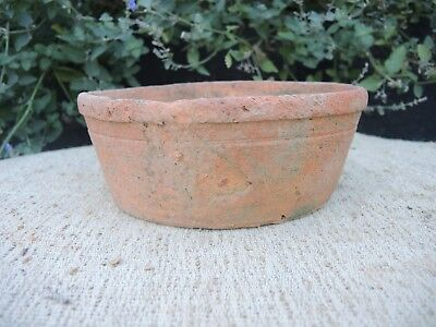 "Rare Old  Hand Thrown Terracotta Half Height Plant Pot  7.75"" Diameter (1190)"