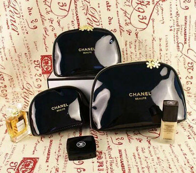 49cb3a0d5754 Chanel Beaute VIP Gift Set Snowflake Cosmetic Makeup Black Bags Beauty New  3 Pcs
