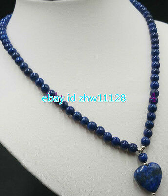 New 6mm Blue Lapis Lazuli With Round Beads + Heart-Shaped Pendant Necklace 18