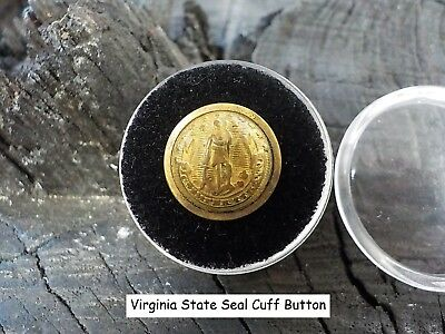 Old Rare Vintage Antique War Relic Virginia State Seal Cuff Button Free Case