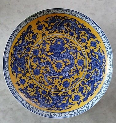Blue underglaze Dragon with Yellow enamel - Large Charger Dish - Qianlong