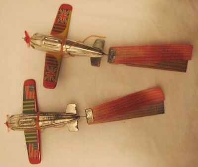 Old Pair Mini Tin Japan Airplanes w/ British & USA Flags - Spinner Bamboo Tails