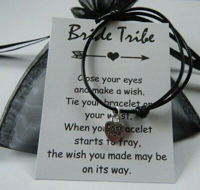 BRIDE TRIBE HEN PARTY WISH BRACELET GIFT FAVOR in organza bag MORE COLOUR CHOICE