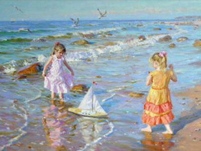 ZWOPT546 two little girl portrait playing seaside&bird oil painting art canvas