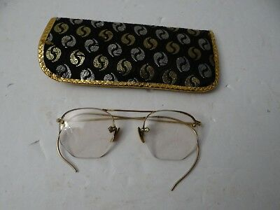 57a76057d4 VINTAGE EYEGLASSES MARKED 1 10 -12K With Attached Chain   Hairpin ...