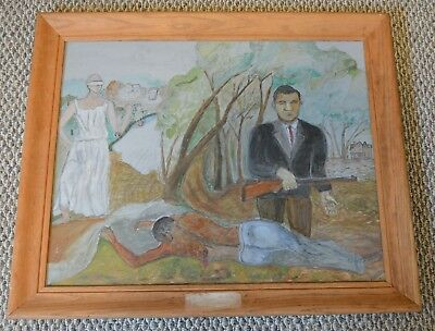 Slavery Painting Antique African American Art  Black Americana Folk Art