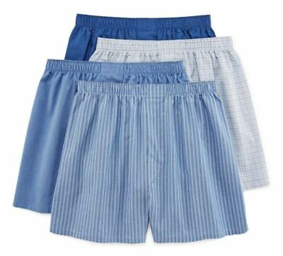 Stafford 4-Pack Men's 100% Cotton Woven Boxers French Blue