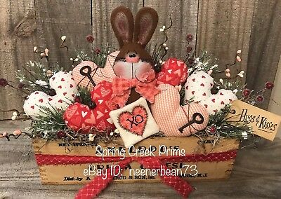 Primitive Prim Handmade Spring Valentine Bunny Rabbit Love Note Decoration