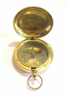 "Antique 2"" Inches Brass Push Button Handmade Compass Nautical Solid  Brass"