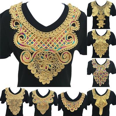 Black Embroidered Lace Collar Neckline Applique Embroidery Sewing on Patches