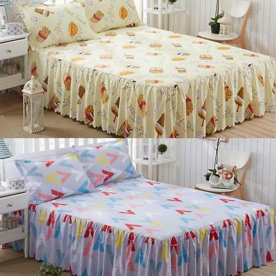 Elastic Bed Skirt Solid Color Hollow Ruffle Bed Cover Queen Size 150*200cm