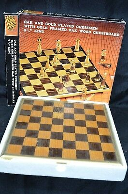 Vintage Mid Century OAK Wooden Wood & Gold Chess Set Complete Replacement Pieces
