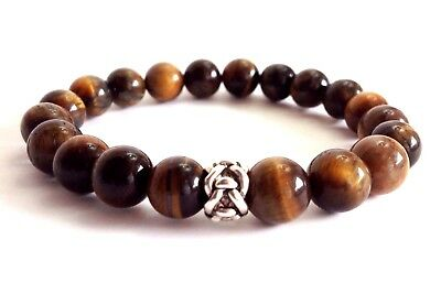 Natural Tiger Eye 10Mm Gemstone Silver Jewelry Stretch Mens Beaded Bracelet