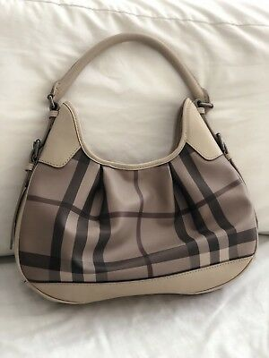 100% AUTHENTIC BURBERRY Supernova Check Nickie Tote Bag in Burgundy ... 8840fa3d0b026