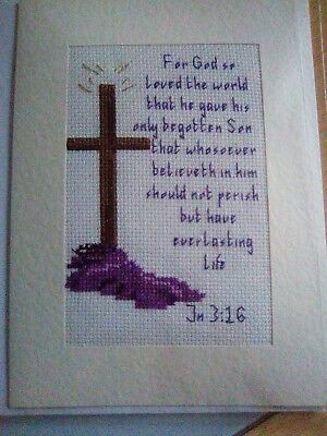 Newly Completed Cross Stitched Card 8 X 6 Inches..easter