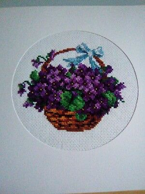 Large Newly Completed Cross Stitched Floral Card.7.5 By 7.5 Inches