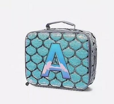 """Mermaid Sequin Initial """"A"""" Lunch Box Tote Brand New"""