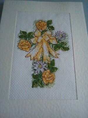 Newly Completed Cross Stitched Card 8 X 6 Inches..easter Cross.