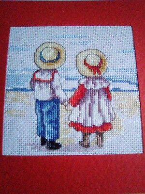 Large Newly Completed Cross Stitched A.o.y. Card.7.5 By 7.5 Inches