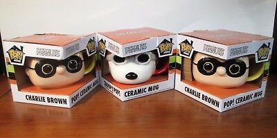 Peanuts Funko Pop Ceramic Mug Set of 3 Charlie Brown Halloween Snoopy Flying Ace