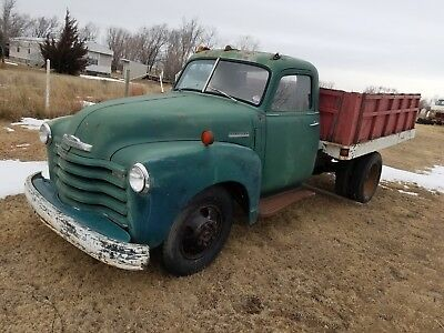 1949 Chevrolet 1 1/2 TON DUMP WHEAT 6400 TRUCK DUALLY PROJECT KANSAS 1949 CHEVROLET 1 1/2 TON FARM WORK SHOP CHEVY 49 50 51 52 53 48 47 AD PATINA OLD
