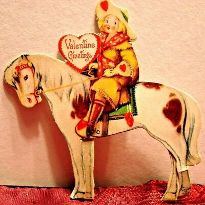 Vintage Valentine Greeting Card Cowgirl On Horse Easel Back Unsigned